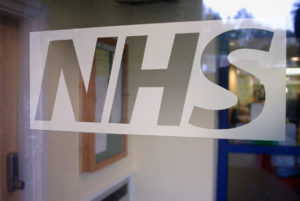 NHS Logo cut in dusted crystal Barnstaple Hospital Tinting Express Ltd