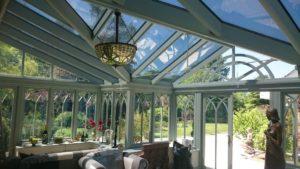 Coryton Devon Conservatory wooden framed glass roof . Dual 22 Solar window film Tinting Express Ltd