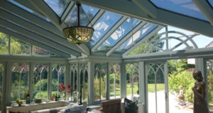 Coryton Devon Conservatory wooden framed glass roof . Dual 22 Solar window film Tinting Express Ltd