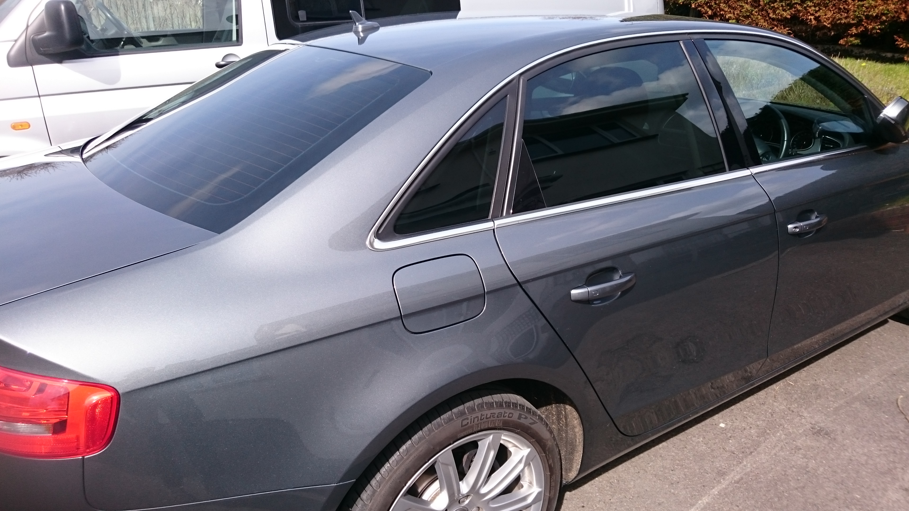 Audi A4 saloon auto window tinting completed job. 18% visible light transmission film. Blocking out 82% light. Tinting Express Ltd Barnstaple