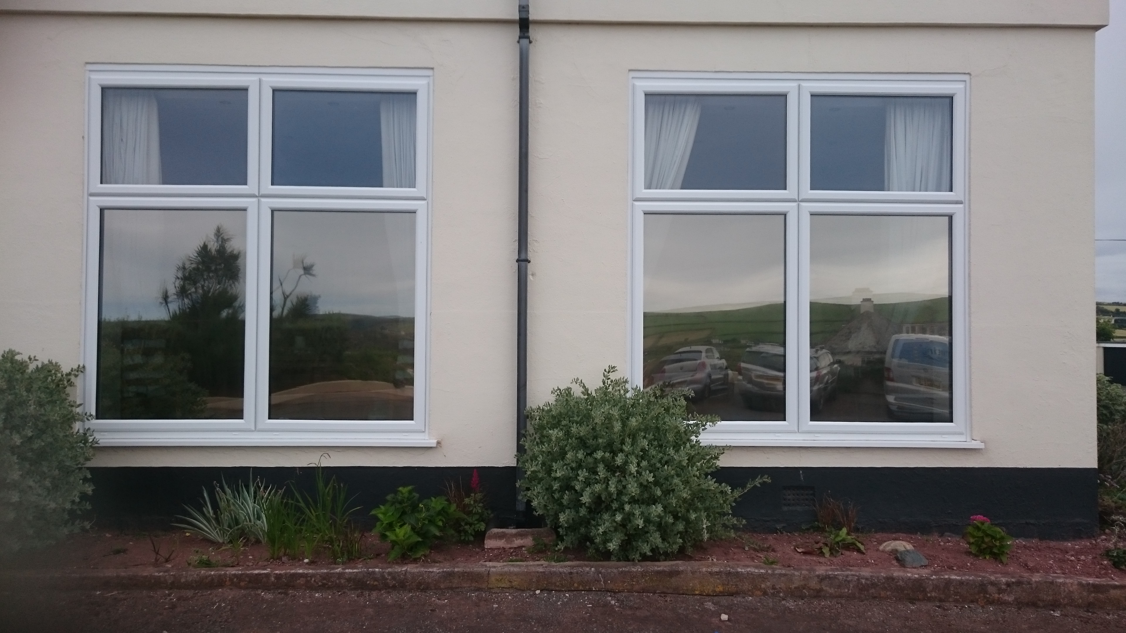 Lounge windows Natural 50 solar window film. Thurlestone Devon. Tinting Express Ltd