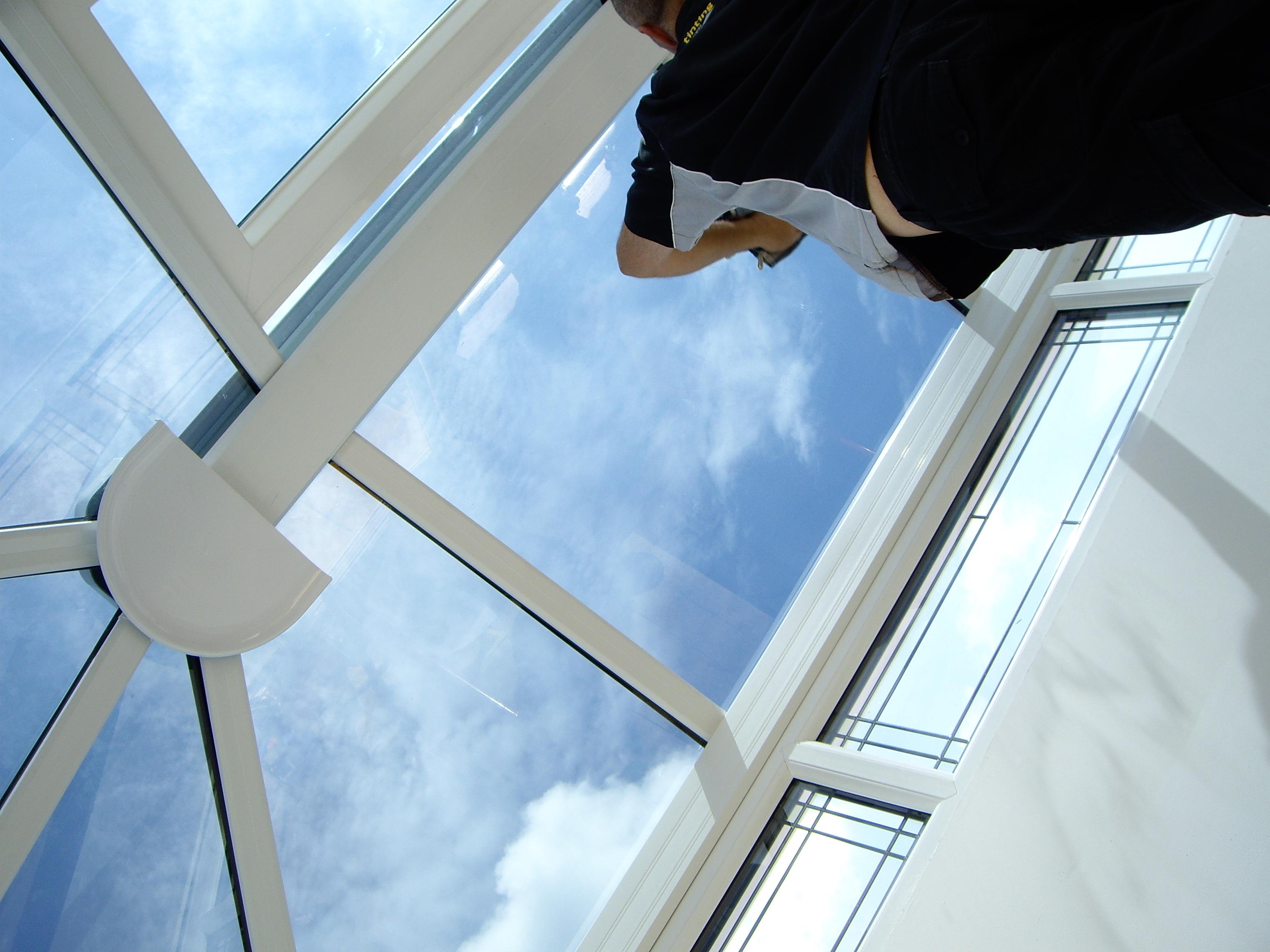 Starting a Lantern glass roof window tinting installation in Torquay Devon Dual 22 Tinting Express .