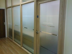 Office windows frosted to create privacy whilst also creating an attractive finish. Exeter University, Exeter Devon UK. Tinting Express Ltd Barnstaple Devon