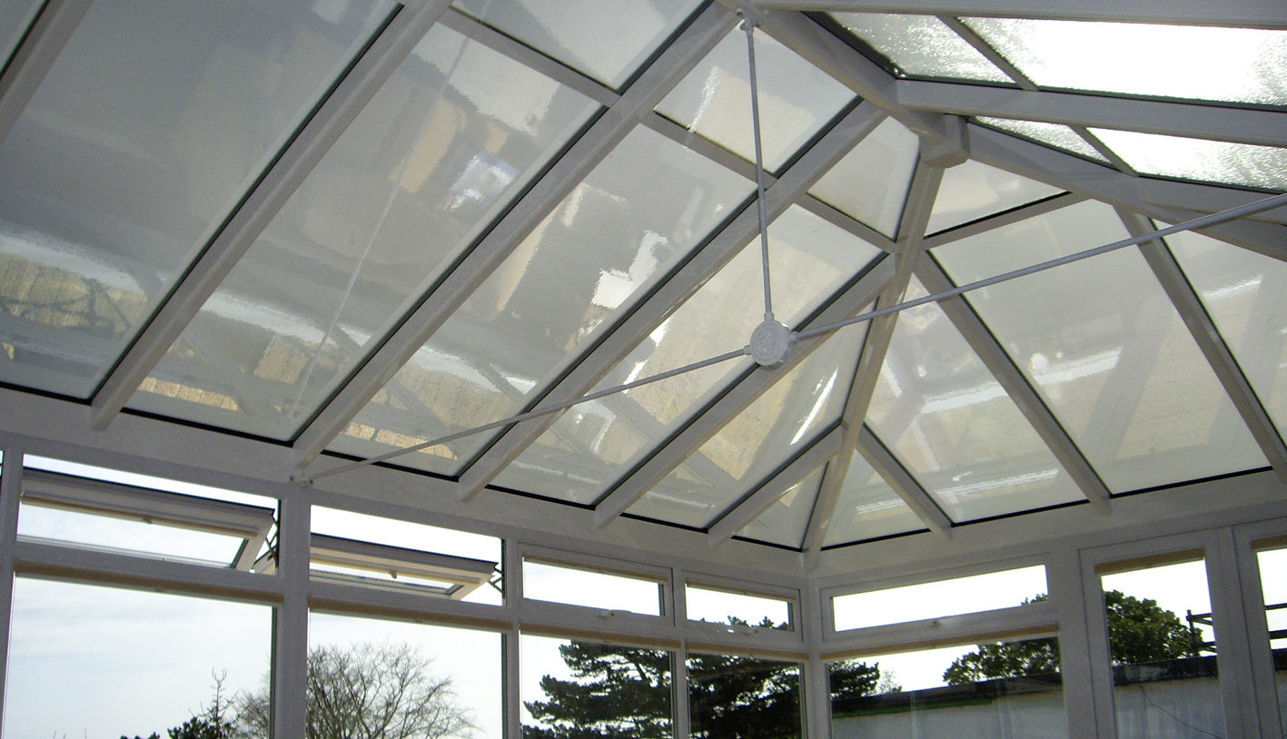 Neutral 30 solar window film applied to frost roof glass in conservatory in Worthing by Tinting Express Ltd