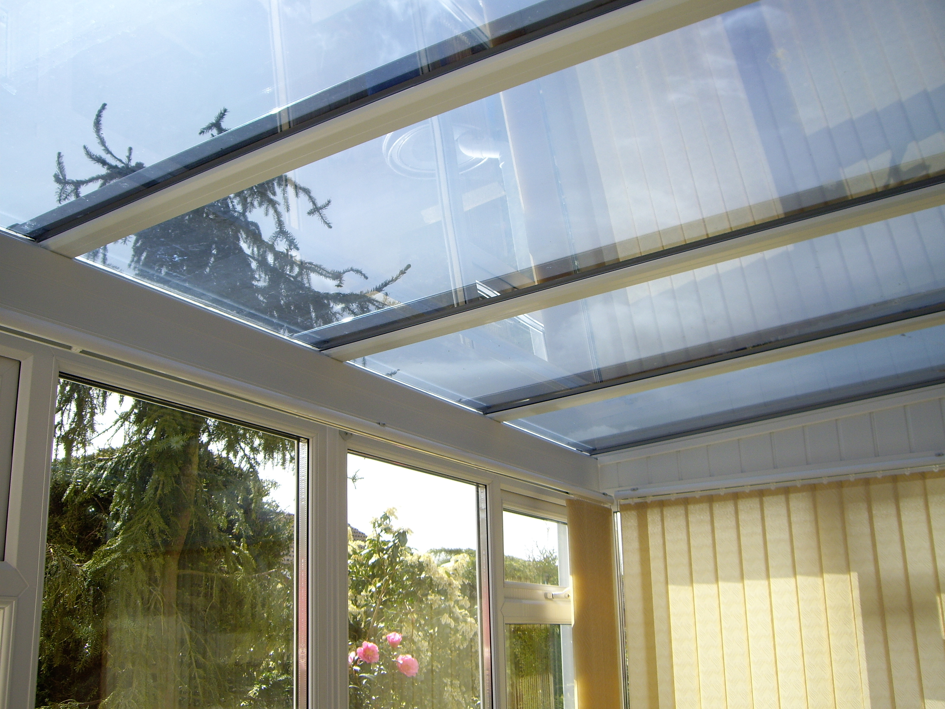Dual 15 solar window film fitted to conservatory glass roof Crediton Devon Tinting Express Ltd