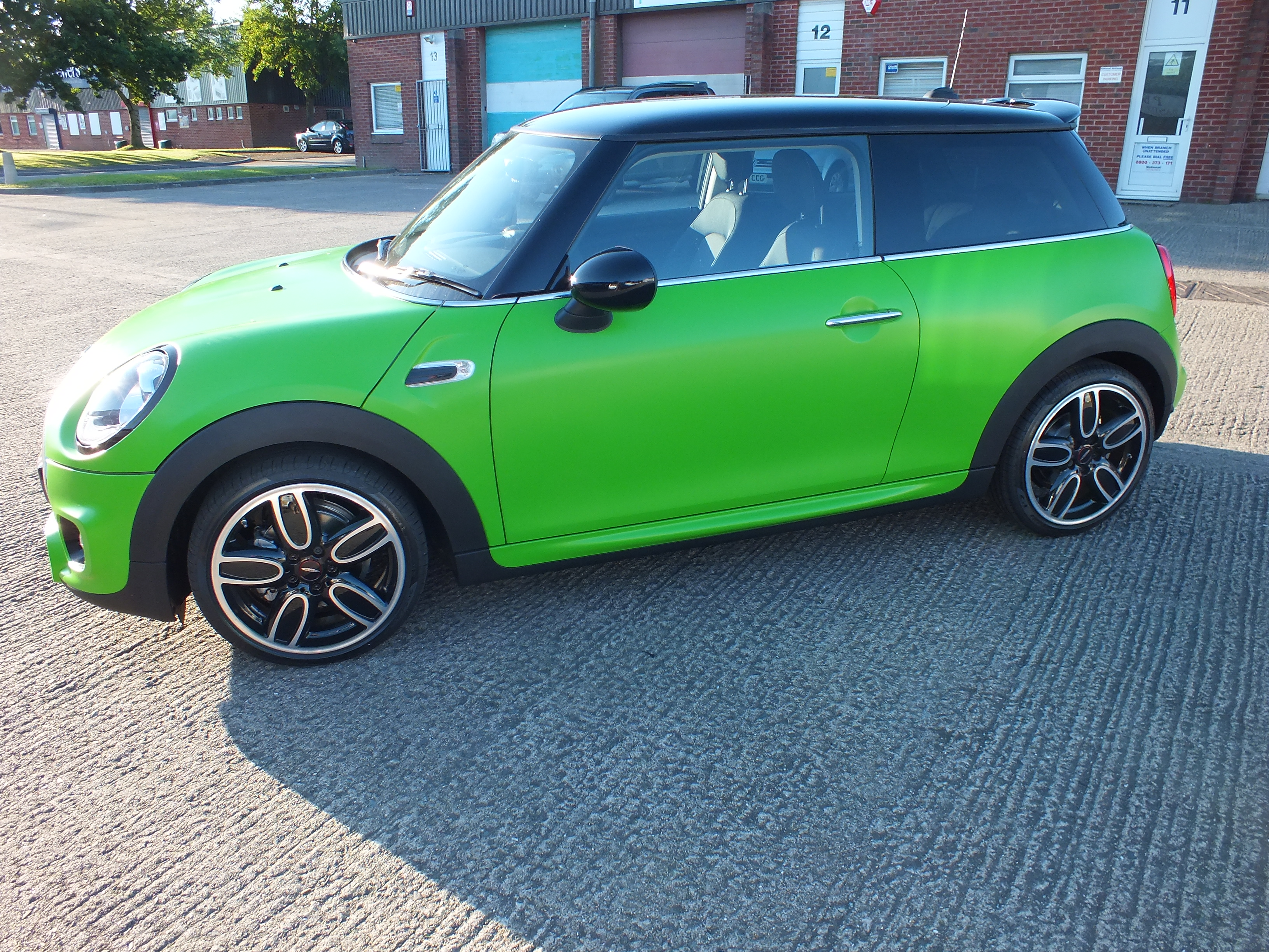 3M Satin Apple Green vinyl car wrap on a Mini Cooper by Tinting Express Ltd