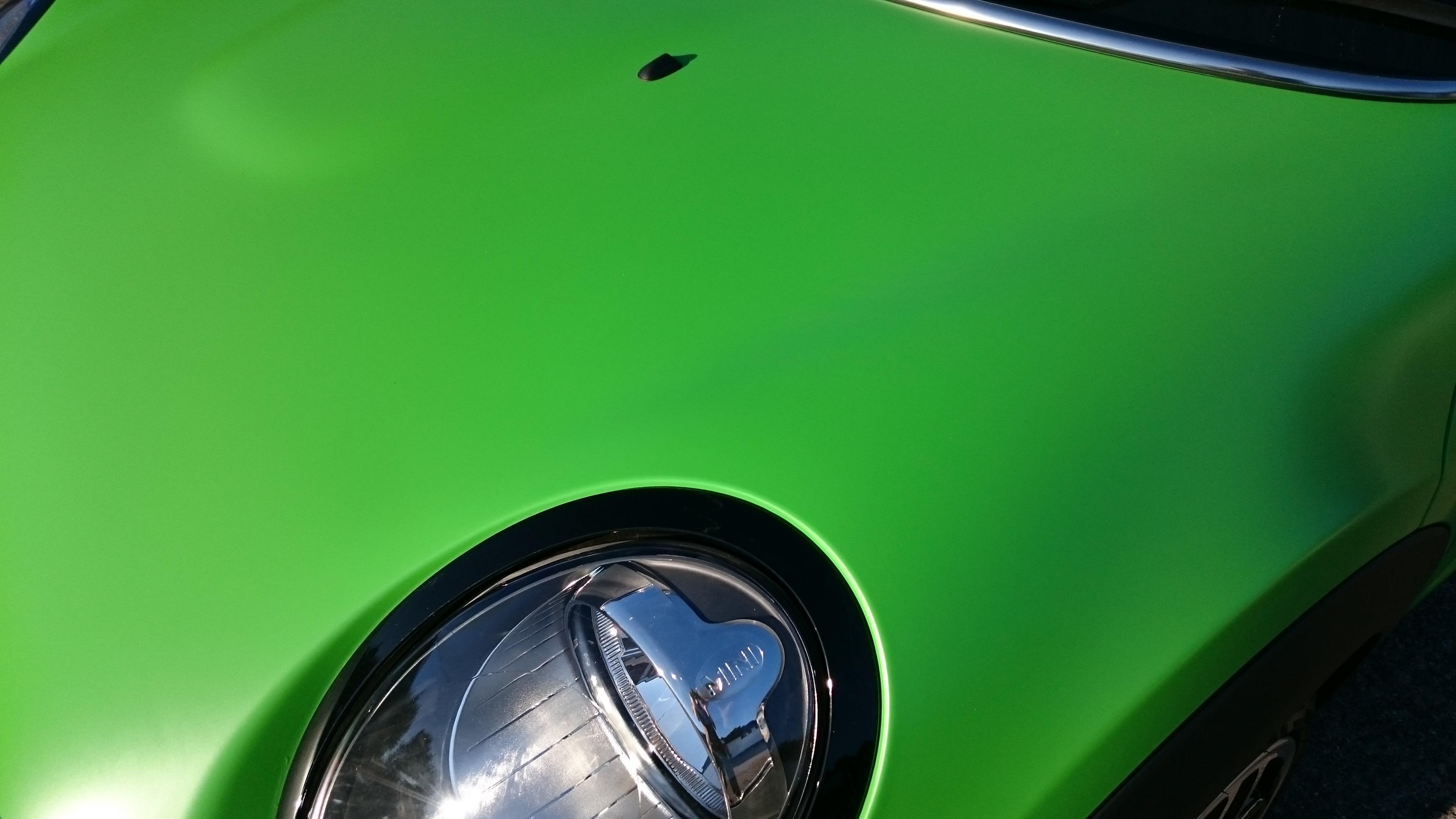 Mini Copper Satin Apple Green vinyl car wrap by Tinting Express Ltd Barnstaple Devon