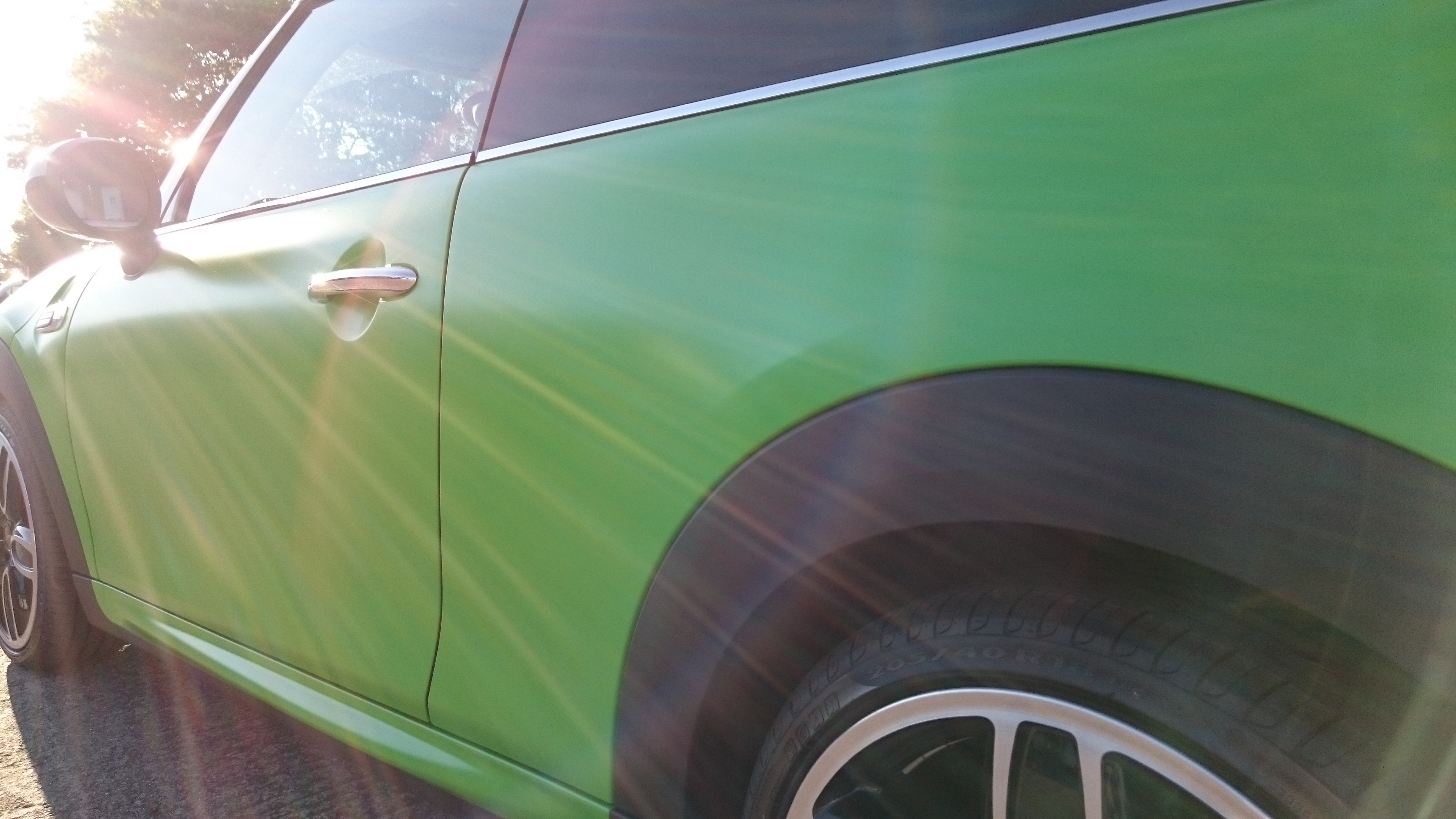 Mini Copper 3M Satin Apple Green vinyl car wrap by Tinting Express Ltd Barnstaple Devon