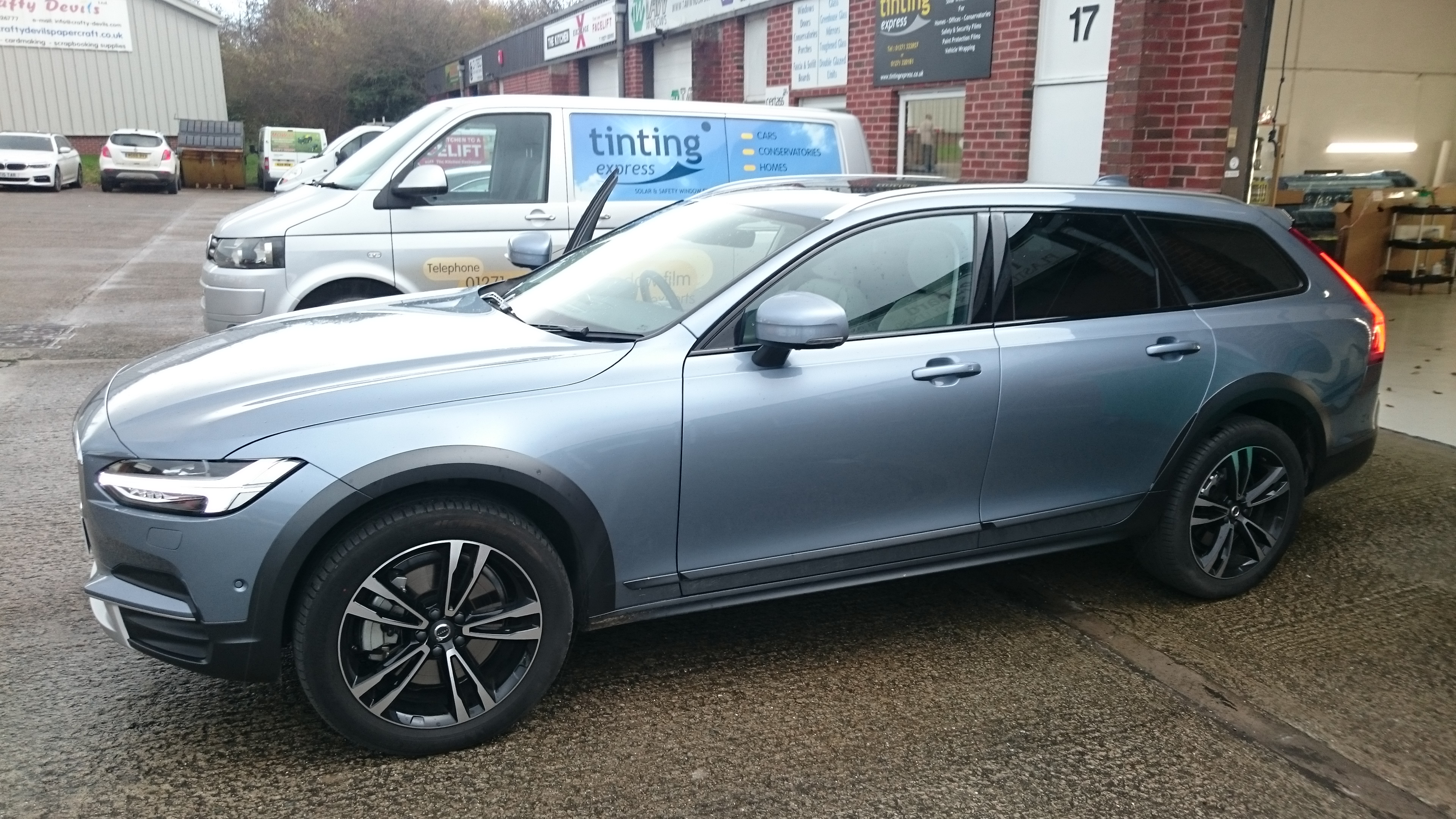 Finished Volvo V90 parked outside Tinting Express Unit 17 Taw Mill Business Park Barnstaple EX32 8QA