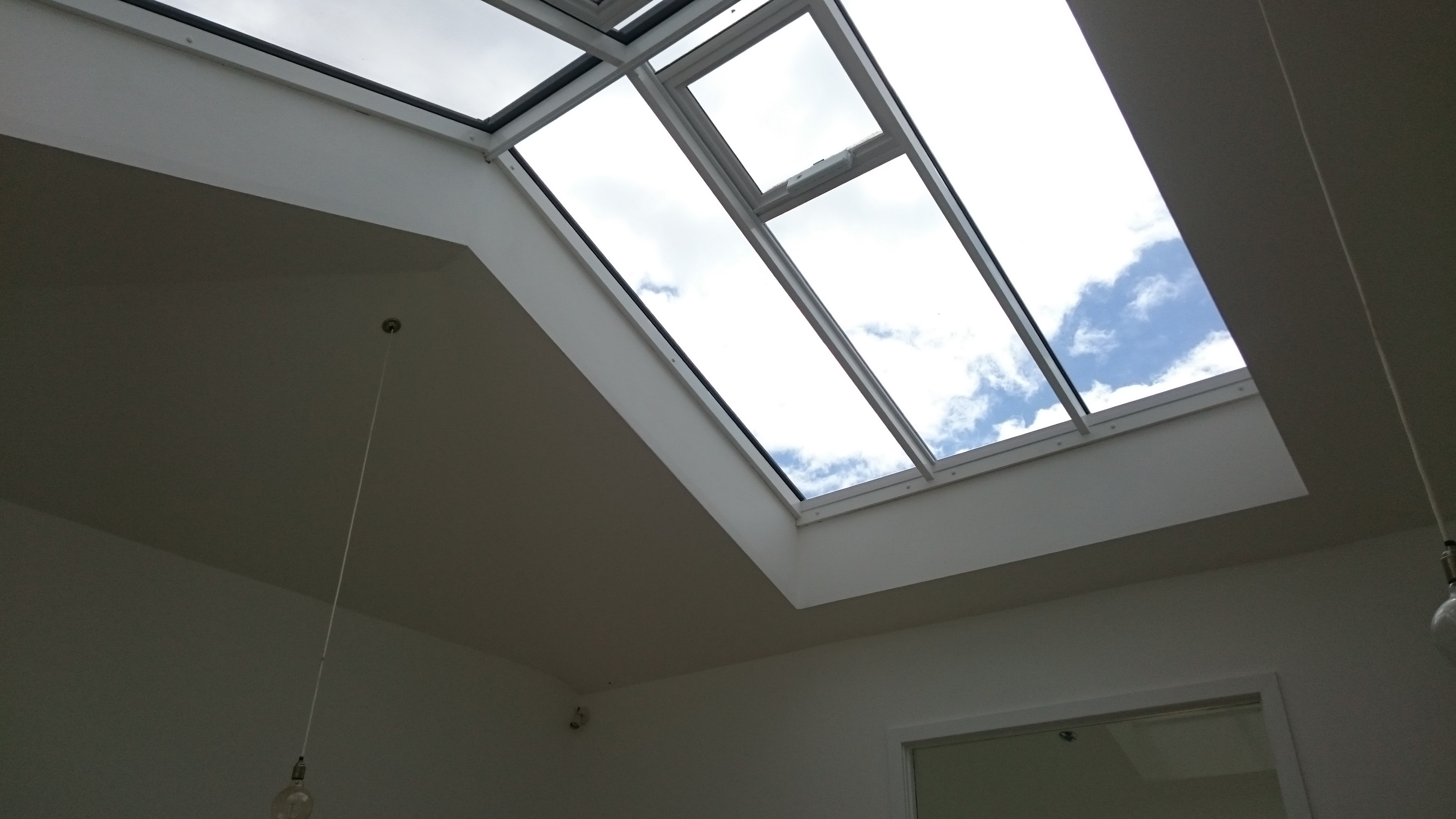 Before any work carried out. Atrium roof awaiting solar window film Exeter East Devon - Tinting Express Ltd