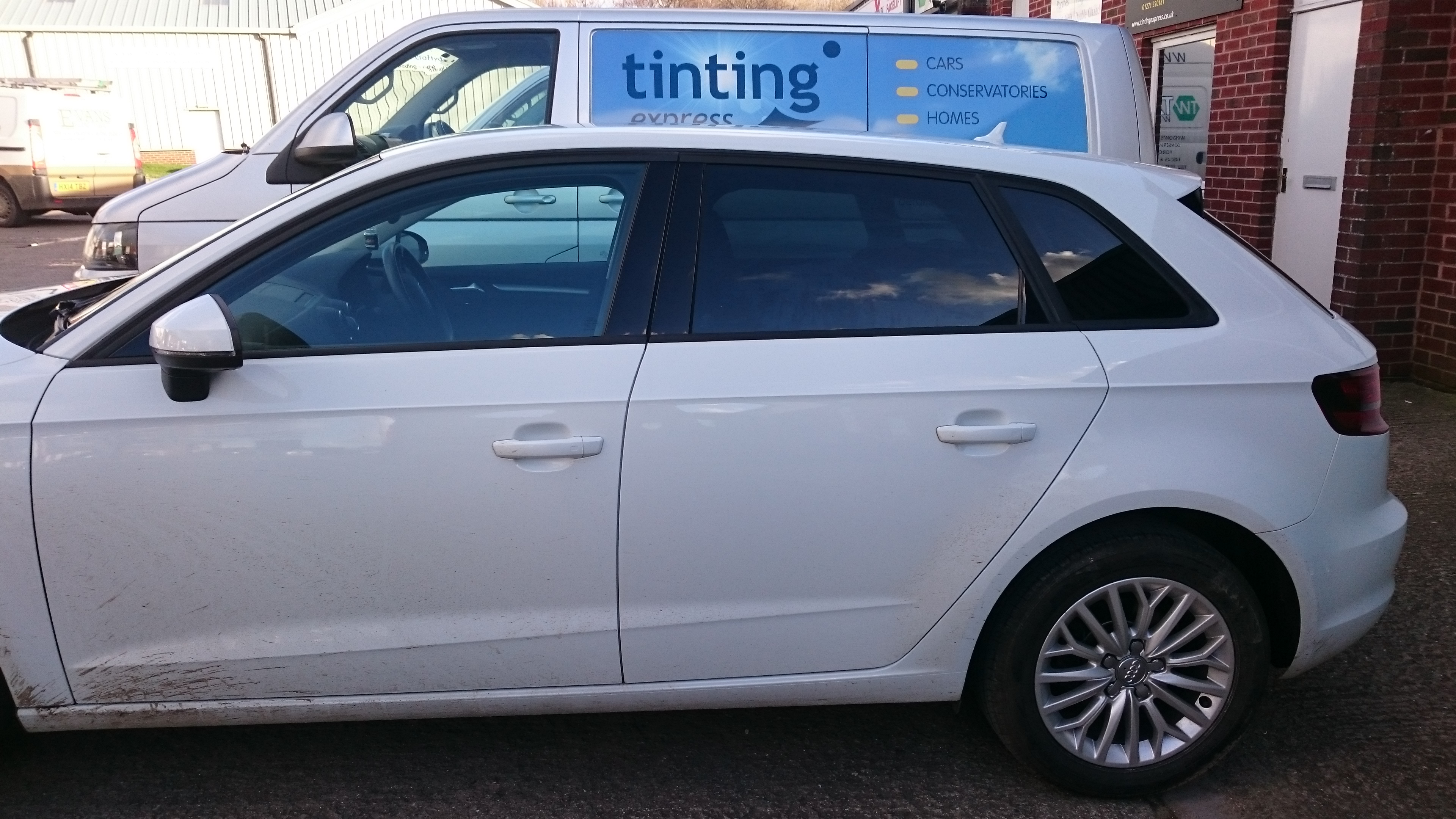 Audi A3 five door hatchback tinted with Llumar ATC 20 automotive window film. Tinting Express Barnstaple's number one window tinting company