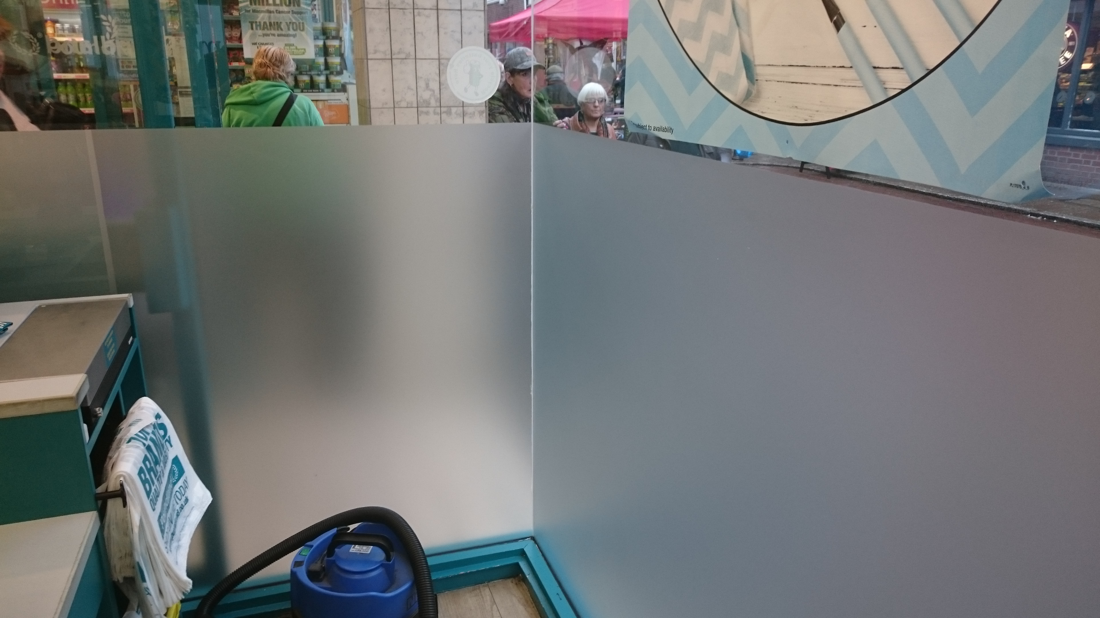 Refreshed crystal etch frosted window film applied to a shop window of a national chain high street shop. Tinting Express Barnstaple