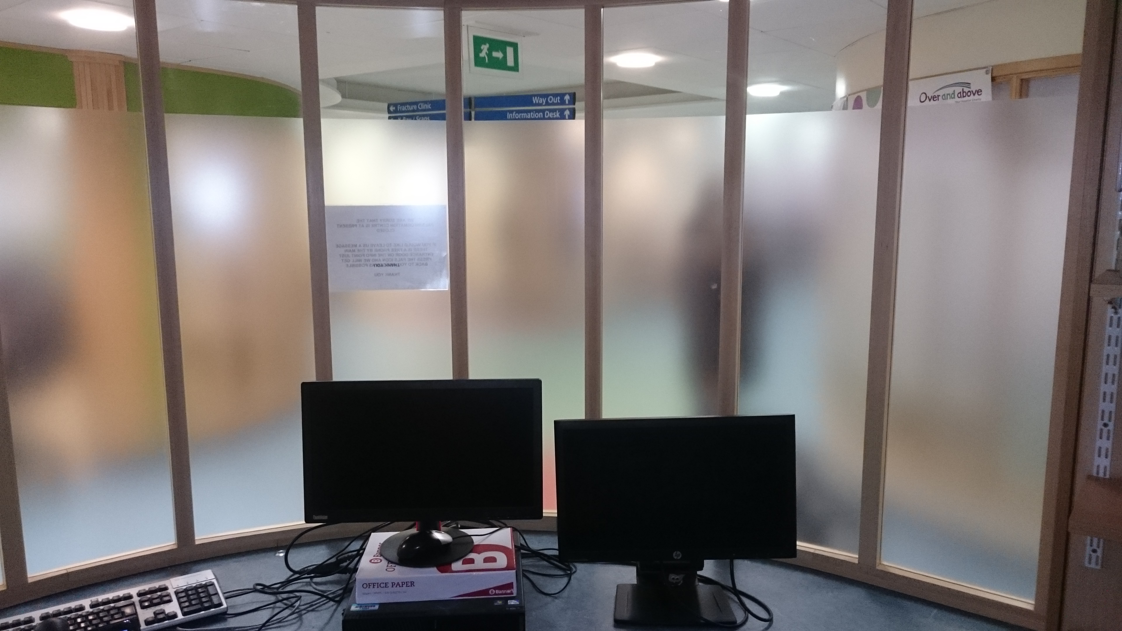 Semi frosted window film applied to new glazing at North Devon District Hospital Barnstaple Tinting Express