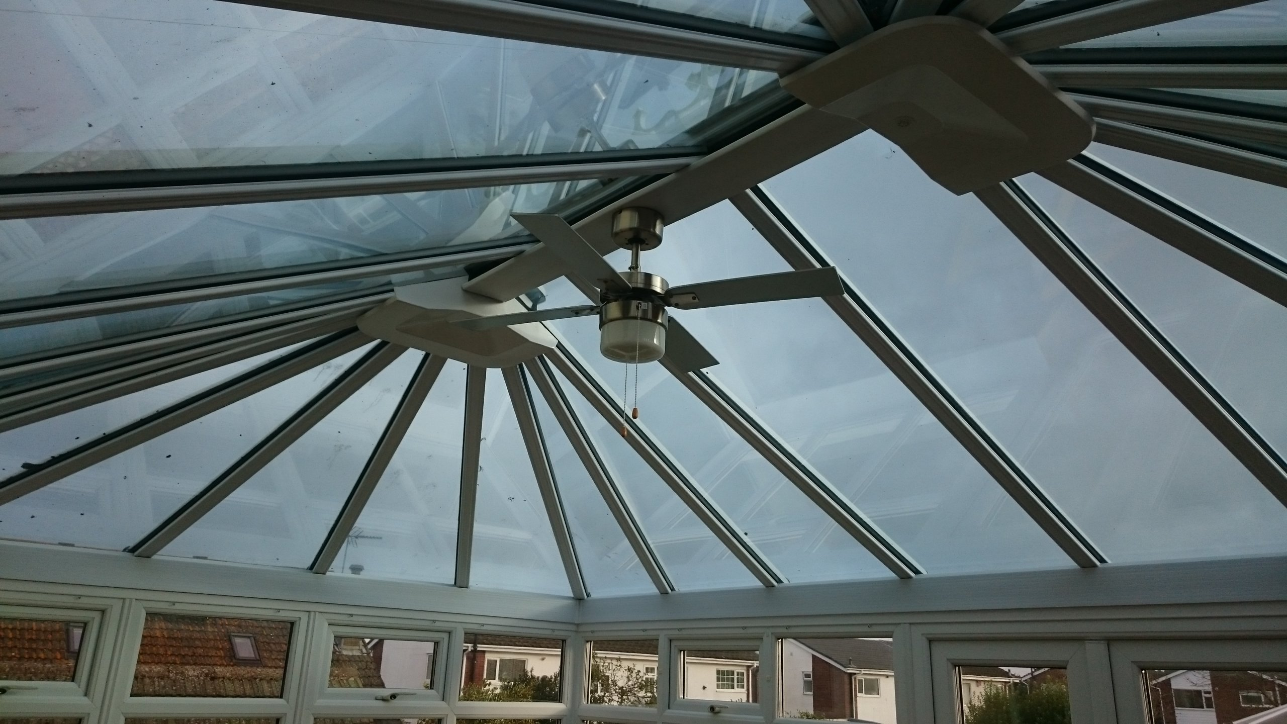 Weston-Super-Mare Conservatory roof awaiting solar window film Dual 15 . Fitted by Tinting Express Devon