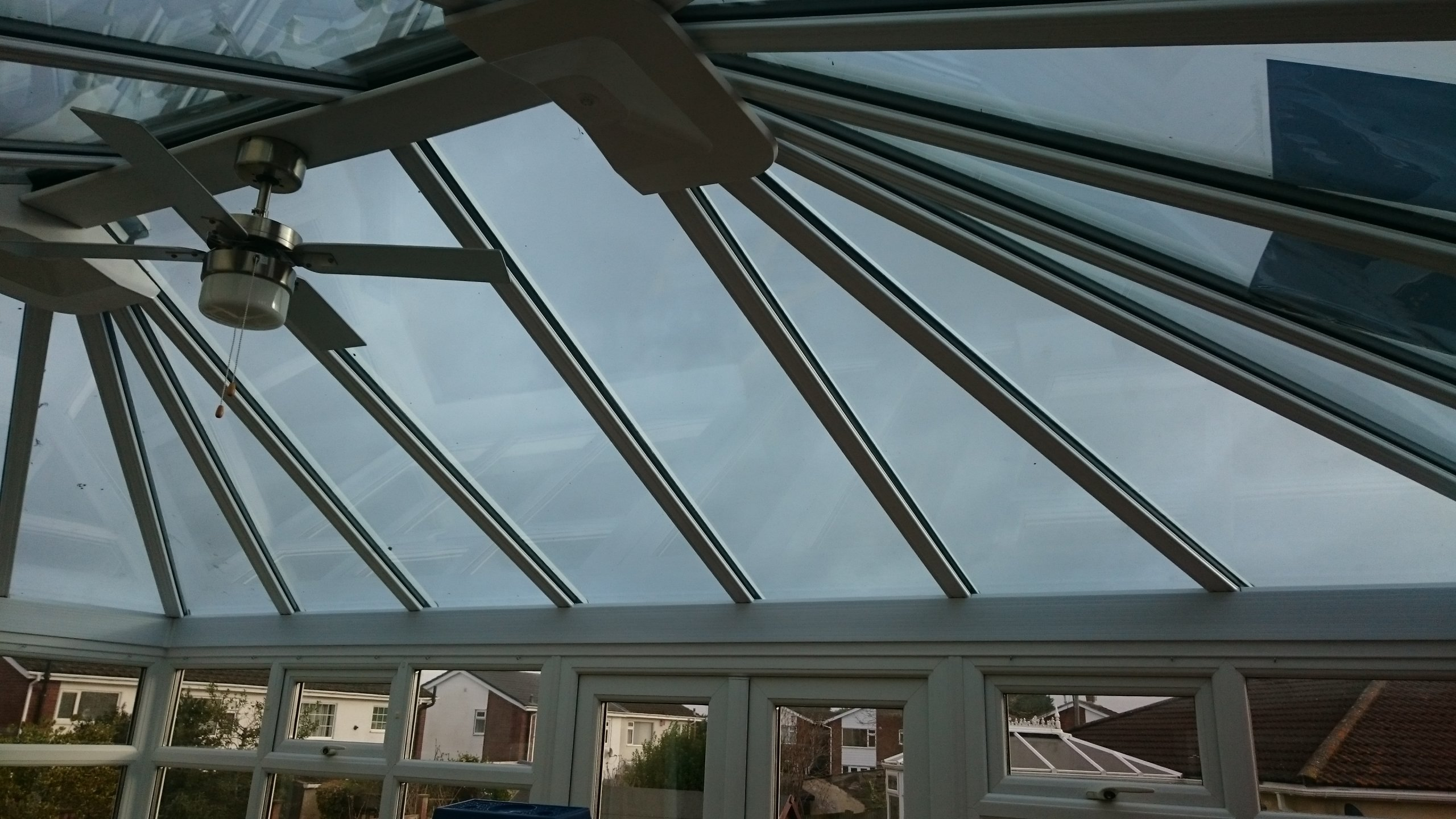 Somerset's Weston-Super-Mare Conservatory roof awaiting solar window film Dual 15 . Fitted by Tinting Express Devon