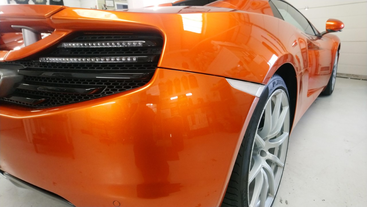 McLaren MP4-12C with paint protection film applied by Tinting Express Devon