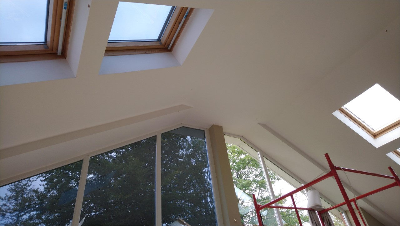Internal view. Lounge window and velux skylights having a Dual 10 solar window film applied to reduce sunlight glare. Chulmleigh Mid Devon by Tinting Express Ltd Devon